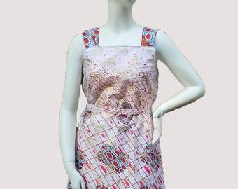 Pink, Red and Gold African Print Kitenge Sun Dress with Belt (size: US 6 - US 8)