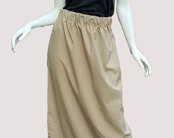 Tan Smooth Cotton Skirt with Elastic Waist