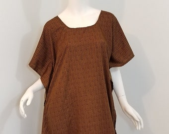 557dd93a9fee9 Silky feel polyester caftan dress- brown and black (size: one size fits  most)