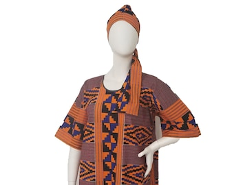 Dolman Sleeve Dress with scarf - blue and orange Kente print (US size 14-20)- RESERVED for customer