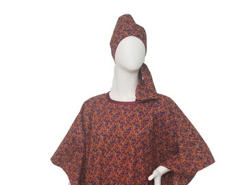 Caftan with scarf - maroon leaf print on dark blue background (one-size-fits-most up to US 28)