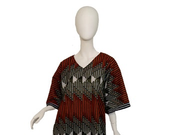 Dolman Sleeve African Print Kitenge dress with matching hair tie - black, orange and white woven look (US Size 12-16)