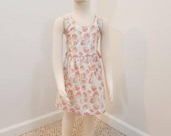 Crossback summer dress- pink roses (size: 2T)
