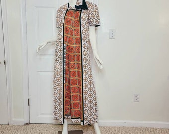 Leso (African print) Cotton Summer Dress - Pink, Orange and White, A-Line