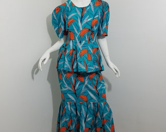 Peplum top and Mermaid skirt African Print set- Turquoise with orange floral pattern (size: US 8)