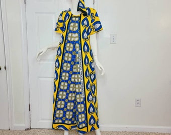 Leso (African print) Cotton Summer Dress - Blue and Yellow, A-Line