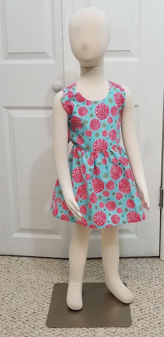 Crossback summer dress pink flowers on light blue background mightylinksfo