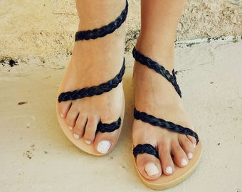 leather sandals, black sandals, greek sandals, Women's Sandals, Leather flats