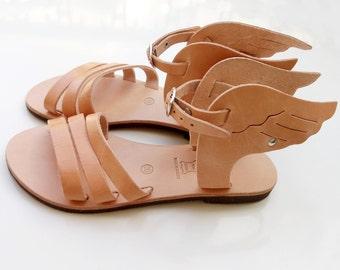 sandales ailées, sandales grecques, sandales Hermes, sandales en cuir