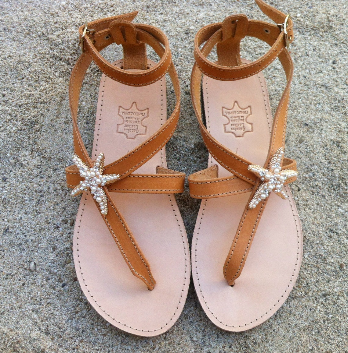 Sandals decorated with Starfish, leathers sandals, handmade shoes, wedding sandals