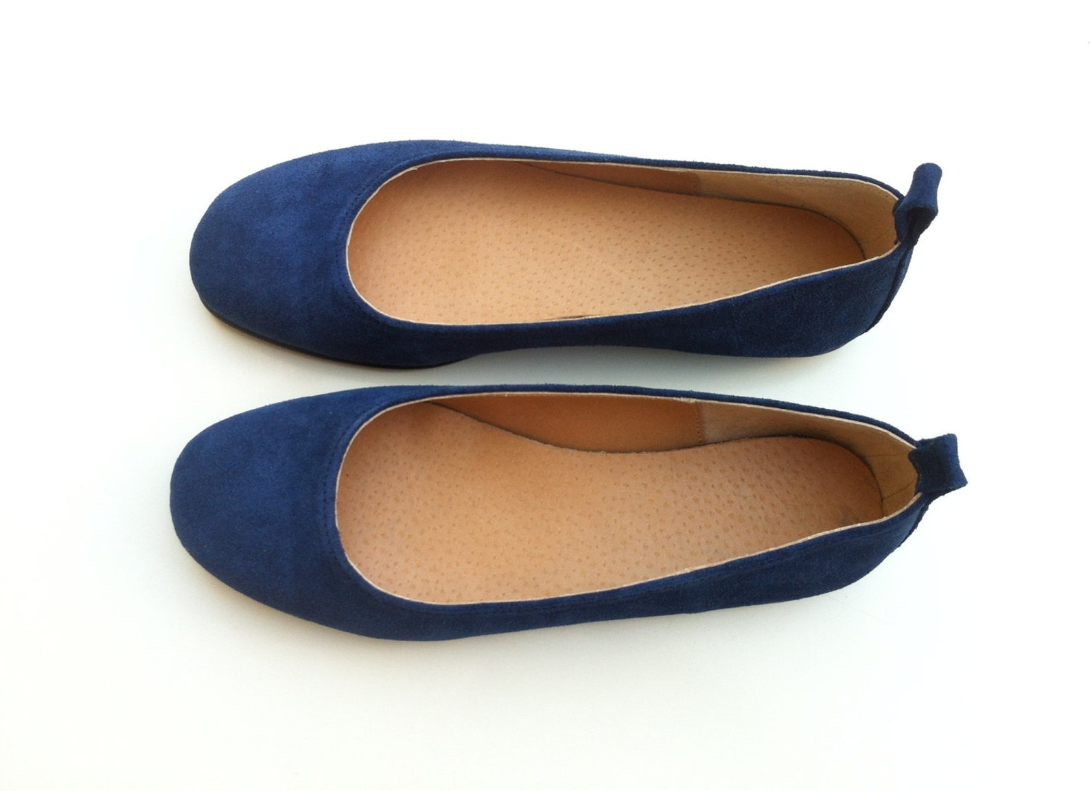 leather flat shoes for women - womens ballet shoes - blue leather shoes - leather pumps