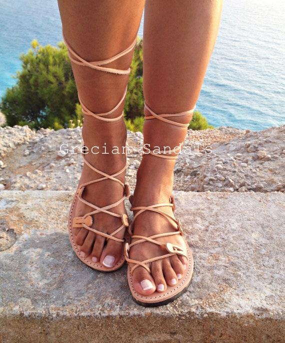 Ancient Gladiator Sandals Strap Sandals-YB24 Elegant Strap Sandals Christmas Gift Women Sandals Brown Leather Sandals Greek Sandals