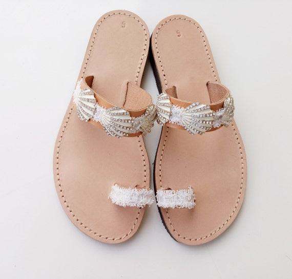 leather sandals Bridal Sandals sandals Wedding white Sandals Bwazn