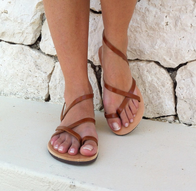 leather sandals women leather sandals in brown color Greek Brown