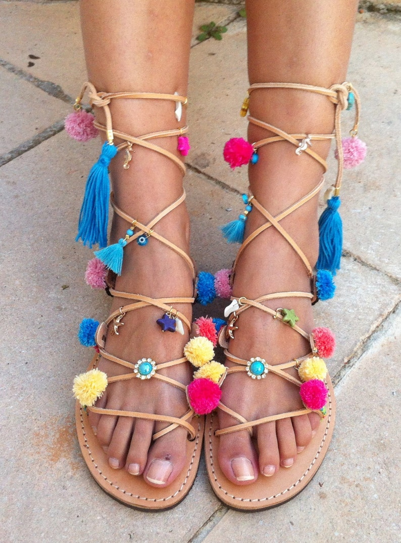 553b9cfaee56b Boho sandals pom pom sandals gladiator sandals Greek