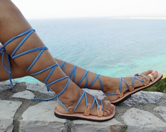 Sandals, Glasiator Sanadals, blue, leather sandals