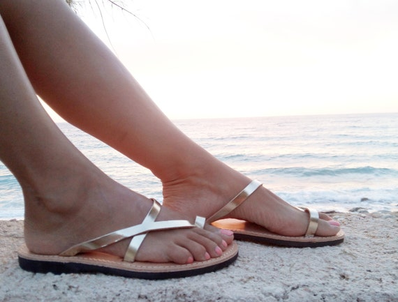 Sommersandalen Goldene Sandalen Sandalen Hochzeit Hochzeit Am Strand Leder Sandalen