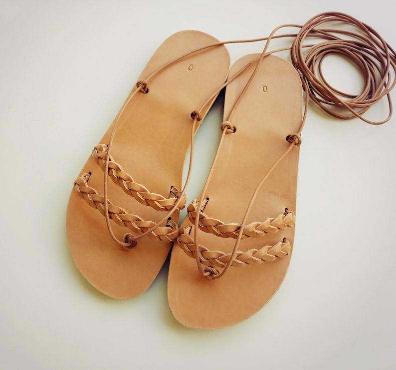 ec4ab46ba738 Ancient Greek leather sandals for womens flat wedding