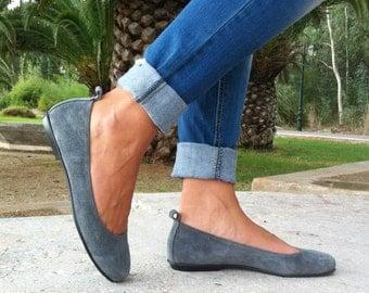 flat shoes, women shoes,ballet shoes, suede shoes, gray shoes
