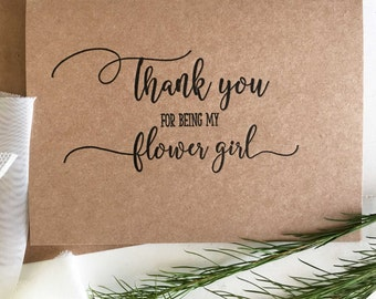 Flower Girl Gift - Thank You For Being My Flower Girl Card - Gifts for Flowergirl - Flower Girl Thank You Cards - Flower Girl - Flowergirl