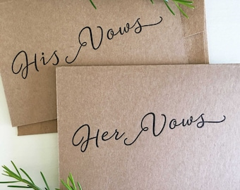 His and Her Wedding Vow Book Set, Her Wedding Vows, Wedding Vows, Her Vows, Wedding Vow Card, Wedding Keepsake, His and Her Vows Calligraphy