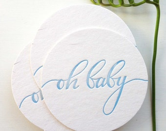 Boy Baby Shower Decorations, Baby Shower Decor, Baby Boy Shower Decoration, Oh Baby Shower Decorations, Letterpress Coasters, Calligraphy
