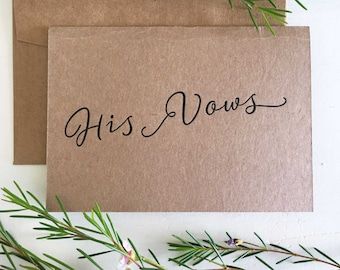 Wedding Vow Card, His Vows, Wedding Vow Keepsake, Wedding Vows, Groom Vows, Wedding Vow Book, His and Her Vows, Wedding Keepsake, Vows Card