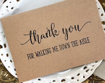 Wedding Thank You Gift, Thank You For Walking Me Down the Aisle Card, Wedding Day Card, Wedding Thank You Card