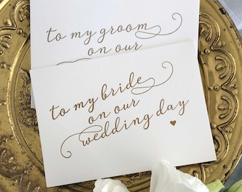 Set of Bride and Groom Wedding Cards, Groom to Bride Card, Groom to Bride Gift, Bride Card, Groom To Be, Bride and Groom Cards, Wedding Day