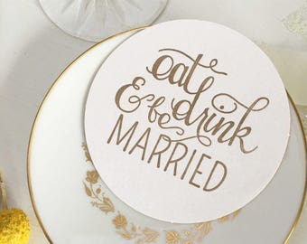 Wedding Coasters, Eat Drink and Be Married, Letterpress Wedding Coasters, Silver Coasters, Wedding Table Decor, Table Decoration, Coasters