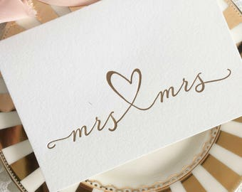 Mrs And Mrs Card, Lesbian Wedding Card, Lesbian Wedding Gift, Gay Wedding Gift, Gay Engagement Gift, Lesbian Couple, Calligraphy Card, Gold