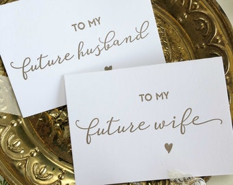 Husband and Wife Card Set, Groom Gift, To My Groom Card, Future Husband, Bride to Groom, To My Future Husband Card, Wedding Day Card Gold