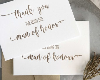 Thank You Man of Honor Card, Man of Honour Proposal Card, Will You Be My Man of Honour, Man of Honor, Bride to Be, Man of Honour Gift Gold