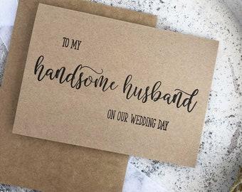 Groom Card From Bride, Handsome Husband, My Groom Card, Groom Gift From Bride, To Groom Gift, Bride To Groom Card, Rustic Wedding Day Card