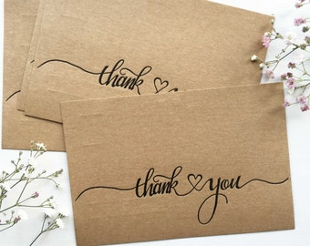 Calligraphy Thank You Postcards, Thank You Cards, Wedding Thank You Card Sets, Letterpress Postcards, Rustic Wedding Cards, Heart Cards