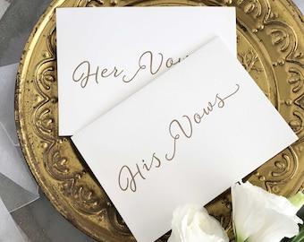 Set of Wedding Vow Keepsake Cards, Wedding Vows, Wedding Vow Print, Wedding Vow Card, Vows, His And Her Vows, Wedding Vows Calligraphy, Vows