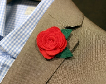 Felt Red rose boutonniere, mens lapel flower pin, wedding boutonniere, flower lapel pin, valentines day gift