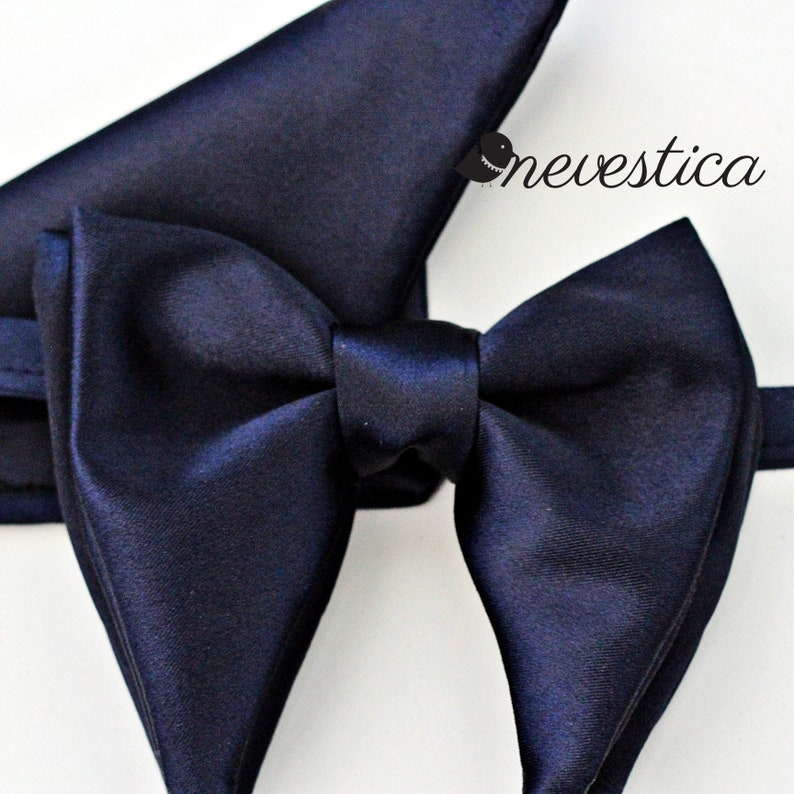 54ad615e1b62 Navy satin butterfly bow tie navy blue bow ties for men satin | Etsy
