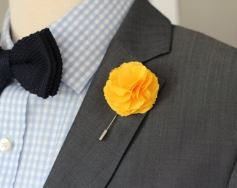 Yellow Carnation, Linen lapel Flower, mens boutonniere, lapel pin, lapel flower, lapel boutonniere, mens lapel pin