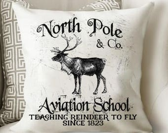 Reindeer Christmas Pillow   Christmas Pillow   Vintage Christmas   Rustic Christmas