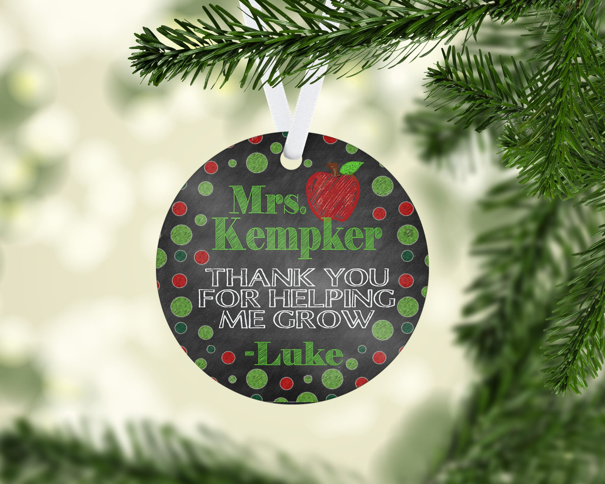 Personalized Teacher Gift Christmas Ornament, Preschool, Daycare ...
