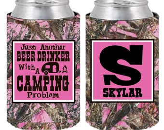 Camping Hugger, Beer Drinker, Camping Problem, Camo Beer Hugger, Just Another Beer Drinker, Hugger, Custom Can Cooler, Can Coolers