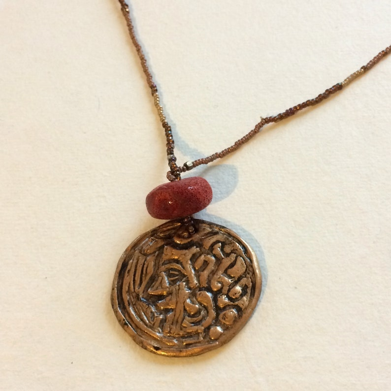 NECKLACE GODDESS handmade clay jewelry beaded necklace with red coral pendant amulet magick goddess adow2 love gift for her