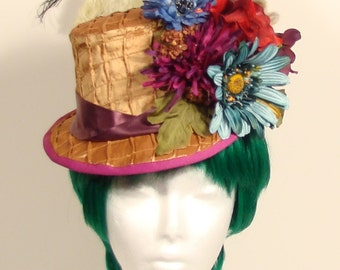 Gold satin and burgandy flower covered ladies riding hat