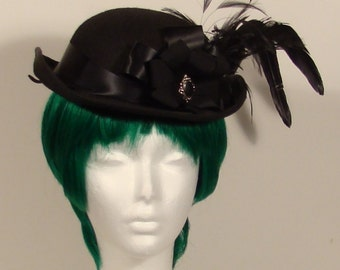 Black womens victorian style dress Bowler Hat