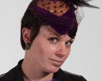 Lyla purple and gold teardrop vintage style hat