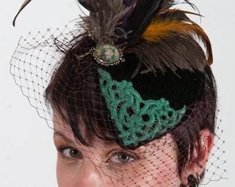 Britt Green velvet tear drop hat with veil