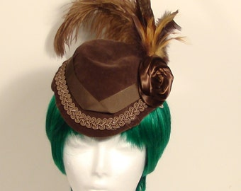 Brown Velvet Steampunk Cap
