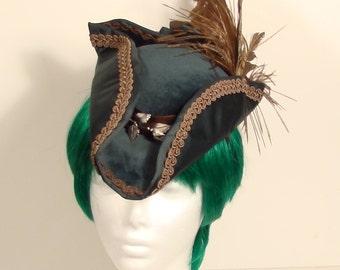 Green and Brown Ladies Dress Tricorner hat