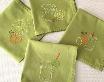 Citrus Drinks Napkins Lemon Lime Hand Embroidered